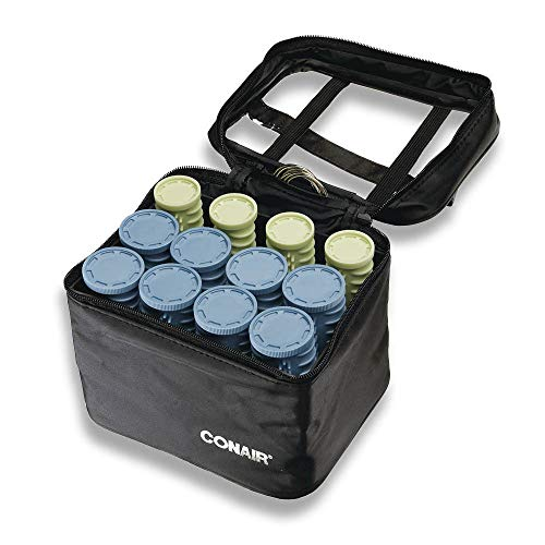 Conair Instant Heat Compact Hot Rollers w Ceramic Techology; Black Case with Blue and Green Rollers, 1 Count