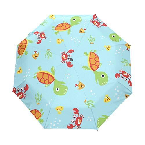 Lindos Cangrejos Tortuga Marina Paraguas Plegables niña niño Automático Resistencia Viento Paraguas Impermeable de Viaje
