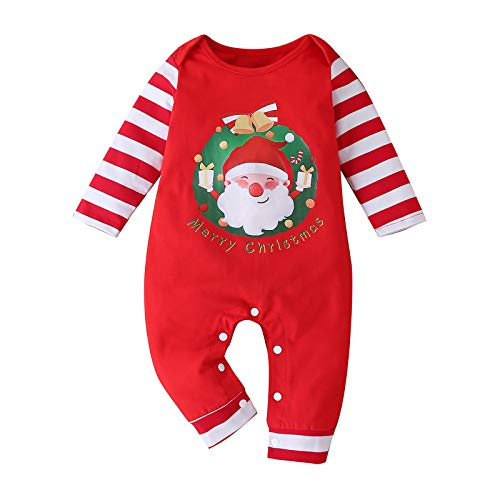 Marxways_ Newborn Infant Baby Navidad Cartoon Print Leopard Patchwork Mono Ropa básica Túnica Navidad Bebé Chica Ropa Ropa Ropa Ropa Niños Niñas Rojo 100 Talla única
