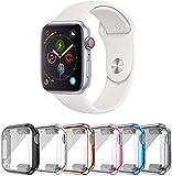 SLYEN Paquete de 6 estuches para Apple Watch con protector de pantalla ultradelgado compatible con iWatch de 44 mm, estuche de cobertura total para Apple Watch SE Series 6 Series 5 Series 4