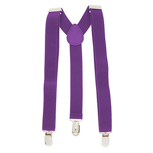 Adjustable Braces Unisexe adultes fin BRETELLES NÉON à clipser pantalon déguisement - Pourpre, Taille Unique