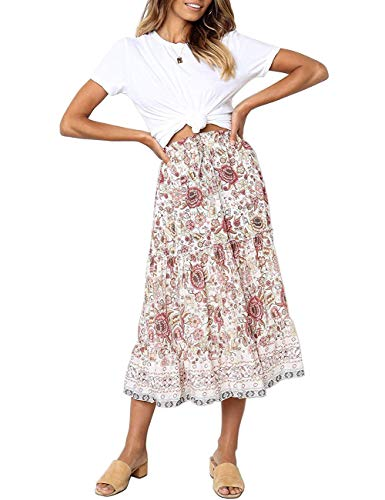 MEROKEETY Women's Boho Floral Print Elastic High Waist Pleated A Line Midi Skirt with Pockets White