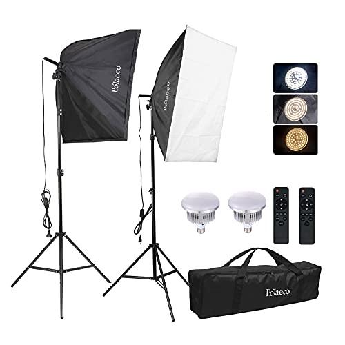 Softbox Fotografico LED Kit Illuminazione 95W 3000~6500K Luci Regolabile, 2x Lampadine e Telecomando, 2m Supporti per Ritratti, Fotografia Prodotti, Foto di Moda, Video