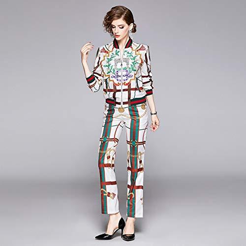 SHL SBIN Frauen Printed Anzug Langarm-Jacke + Zip-Hosen (Farbe : As Show, Size : 2XL)