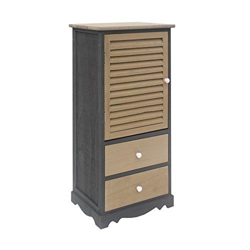 Rebecca RE6069 nachtkastje, zwarte en grijze kast, 2 laden met 1 deur, woonkamermeubel, afmetingen: 90 x 42 x 32 cm (H x B x D)