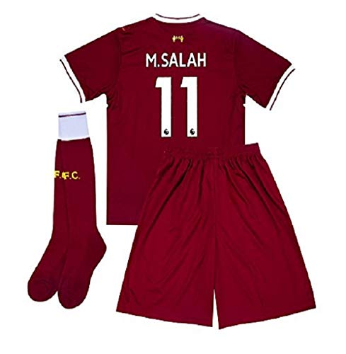 Liverpool Salah Red Home Soccer Short Sleeve Kids Jersey + Shorts + Socks Set Kit for Youth Size Small (4-5 Years Old)