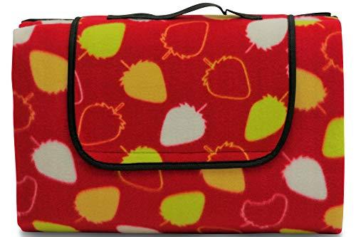 wometo Outdoor Picknickdecke Stranddecke Fleece 150x200 cm – Retro-Motiv Erdbeere (Früchte) - rot gelb weiß I faltbar I waschbar I wasserdicht I isoliert mit Tragegriff