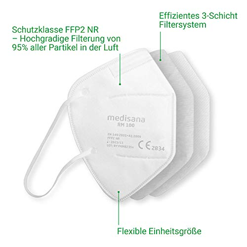 Medisana RM 100 FFP2/KN 95 Atemschutzmaske Staubmaske Atemmaske 3-lagige Staubschutzmaske Mundschutzmaske 10 Stück einzelverpackt im PE-Beutel - 5