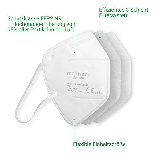 Medisana RM 100 FFP2/KN 95 Atemschutzmaske Staubmaske Atemmaske 3-lagige Staubschutzmaske Mundschutzmaske 10 Stück einzelverpackt im PE-Beutel - 6