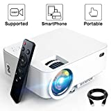 Mini Projector - 3600L Hompow Smartphone Portable Video Projector 1080P Supported 176' Display, 50,000 Hours Led, Compatible with TV Stick/HDMI/VGA/USB/TV Box/Laptop/DVD/PS4 for Home Entertainment