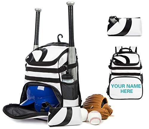 TRAILKICKER Baseball-Rucksack für Jugendliche, personalisierbar, Team-Logo, 31 l, für Jungen und Mädchen, separate Klampe und Ballhalter, Zaunhaken + Tasche, Sporttasche für Fußball Basketball (weiß)
