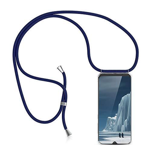 XCYYOO Étui Coque Universel avec Cordon Sangle Dragonne pour Samsung Galaxy A50,Housse en Silicone avec Collier Transparent Lanyard Case Réglable Téléphone Portable,Bleu foncé