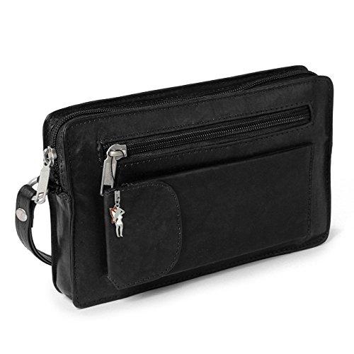 Herrentasche Handgelenktasche für den Mann Flugbegleiter schwarz echtes Leder