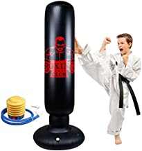 Locsee Punching Bag for Kids, Inflatable Freestanding Bop Bag for Adults and Kids Fitness Boxing Target Bag with Stand, Training Kickboxing Equipment (63 inch)