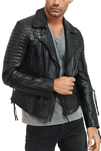trueprodigy Casual Herren Marken Lederjacke Echt Leder Herrenjacke Cool Stylisch Vintage Sportlich Slim Fit Jacke Männer, Farben:Schwarz, Größe:L
