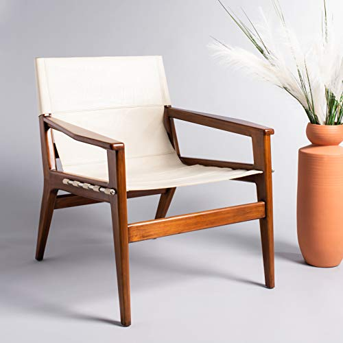 Safavieh Couture Home Mid-Century Modern Culkin White Leather Sling Chair