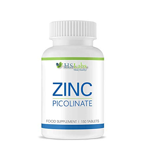 HSLabs ZINC Picolinate 15mg Supplement 150 Tablets Promotes Strong Immune System Supports Detoxification Essential Mineral for Normal Skin Hair Nails Bones Vision High Quality 150 Servings
