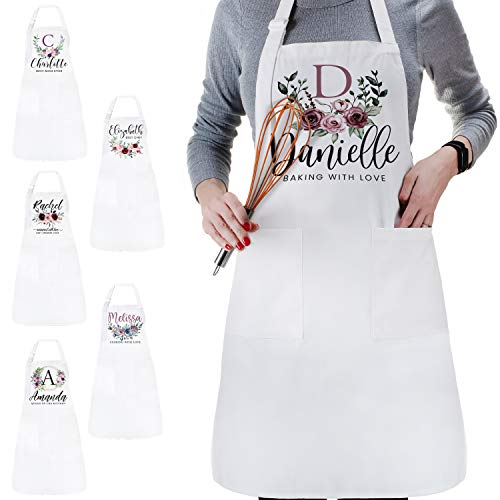Personalized DTG Your Text Here Mother's Day Kitchen Apron with Pocket - Customize Floral Bib Apron with Adjustable Neck Strap Gift Cooking Baking Best Chef - Custom Housewarming Gifts - White - C01