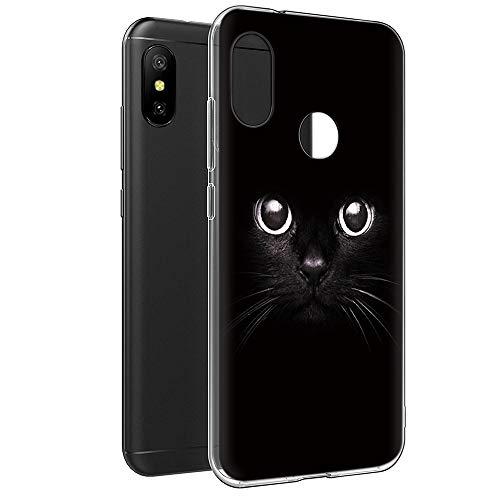 Coque Xiaomi Mi A2 Lite, Eouine Etui en Silicone 3D Transparente avec Motif Peinture Design [Anti Choc] Housse de Protection Coque pour Téléphone Xiaomi Mi A2 Lite/Redmi 6 Pro (Chat Noir)