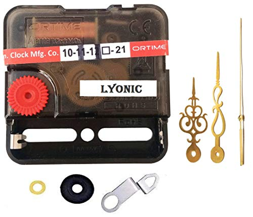 LYONIC Ajanta Mfg. Quartz Sweep & Silent Movement Plastic Machine for Wall Clock (Needle - Royal Gold, Made in India)