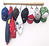 Coat Rack Wall Mount with 8 Hooks on Hardwood Baseball Bat. Fully Assembled, Fun Clothes Hanger. Unique Gift for Sports Fans. Mount on Wall or Door in Entryway, Bathroom, Kids Room (Natural)