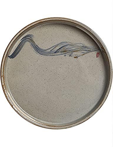SDFB Plato de Cena de cerámica Retro, patrón Cian Pintado a Mano, Plato Plano de cerámica Redondo Elegante de 8.5 o 10.5 Pulgadas, Apto para microondas, marrón