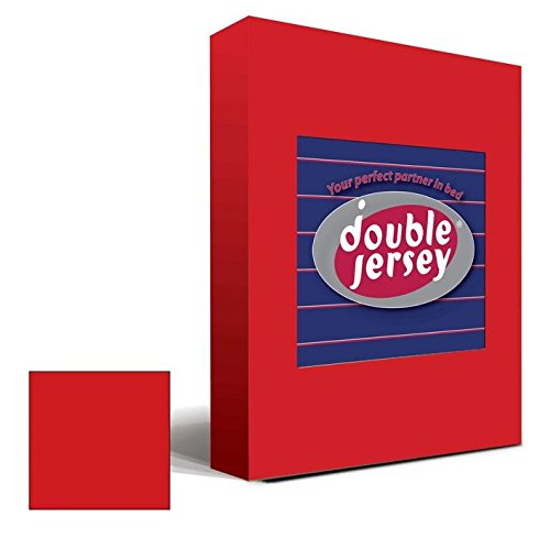 Double Jersey – Spannbettlaken 100% Baumwolle Jersey-Stretch bettlaken, Ultra Weich und Bügelfrei mit bis zu 30cm Stehghöhe, 160x200x30 Rot - 2
