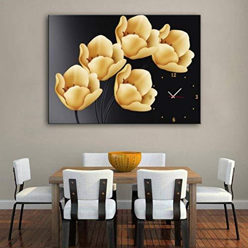 Golden_flower Moderne Wohnzimmer Esszimmer Dekoration Malerei Stumm Uhr Leinwand Malerei Einzelne Wanduhr Blume Reim mit Rahmen, Uhren und Gemälde, 1 STÜCK, 50x70 cm