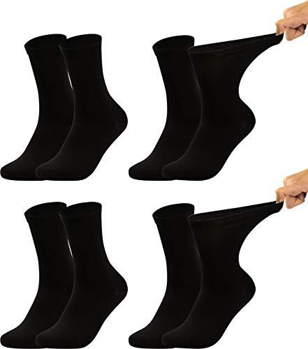 Vitasox 11124 Damen Ges&heitssocken extra weiter B& ohne Gummi, Venenfre&liche Socken mit breitem Schaft verhindern Einschneiden und Drücken, 4 Paar Schwarz 39/42