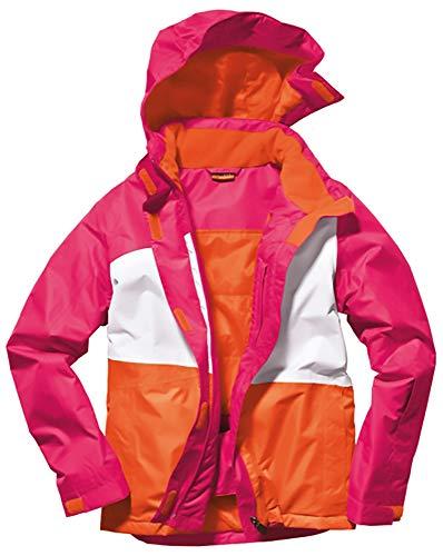 Crivit Sports Mädchen Skijacke Snowboardjacke Winterjacke, Winddicht wasserdicht (Orange Pink Weiß, Gr. 158/164)