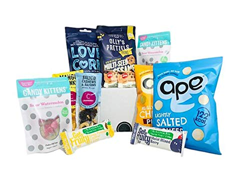 Healthy Vegan Snack Box with an Assortment of Vegan, Gluten Free, Low Calorie Sweet and savoury Snacks and Bars. Healthy Snacks Ideal for All The Family and Boxed Perfectly for a Gift!