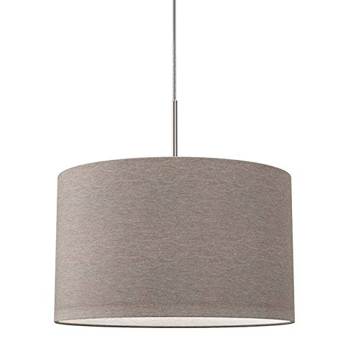 Lampada a sospensione in tessuto color grigio-talpa, attacco per lampadina E27 non inclusa, paralume diametro 38cm, Lampadario moderno per sala da pranzo o camera da letto, IP20