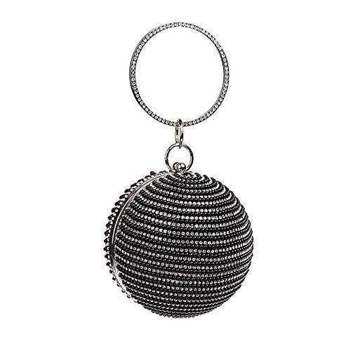 Kentop Damen Abendtasche Elegante Tanzparty Clutch Perle Kugelform Handtasche Geldbeutel (Schwarz)