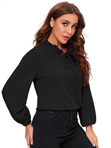 SheIn Women's Long Sleeve Front Bow Tie Ruffle Collar Elegant Blouse Shirt Tops Black Large