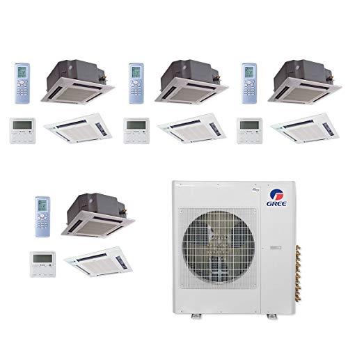 GREE MULTI42CCAS407-42,000 BTU Multi21+ Quad-Zone Ceiling Cassette Mini Split Air Conditioner Heat Pump 208-230V(12-12-12-12)