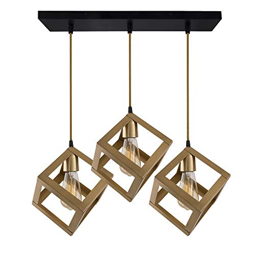 Homesake 3-Lights Linear Cluster Chandelier Golden Hanging Cube 6', Hanging Pendant Light with Braided Cord, Urban Retro, Nordic Style, LED/Filament Bulb