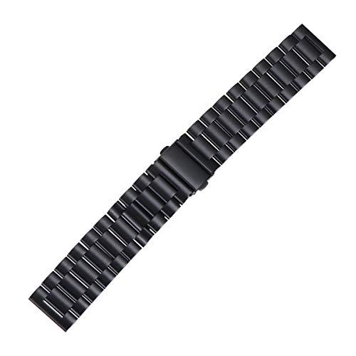UKCOCO Cinturino per Gear S3 Frontier/Classic, cinturino in acciaio inossidabile 22mm banda di ricambio con fibbia in metallo per Samsung Gear S3 Frontier / S3 Classic (Nero)