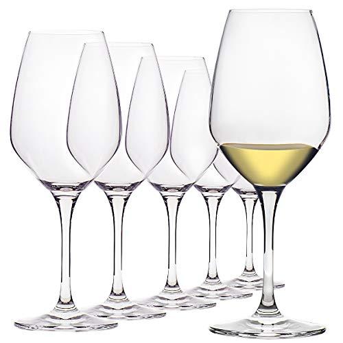 15-Ounce Crystal White Wine Glasses Set of 6, Long Stem Ultra-Thin Rim Wine...