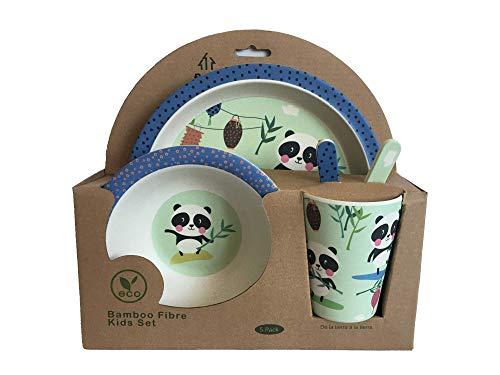 AMTBABY Vajilla infantil de bambu. Libre de BPA ecológico y biodegradable. Apto para lavavajillas (Oso Panda)