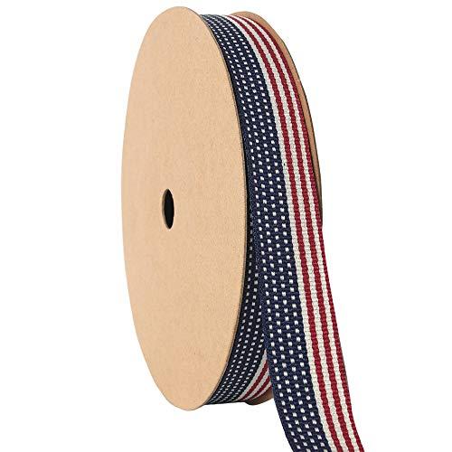 NewTrend American Flag Stripes Printed Polyester Grosgrain Ribbons 5/8