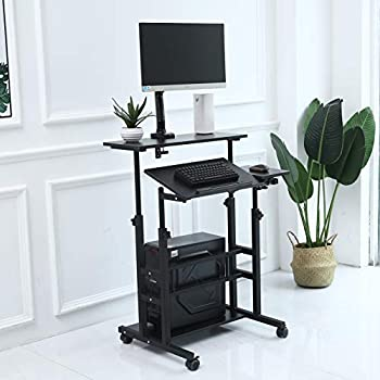 UNICOO- Height Adjustable Sit Stand Workstation Mobile Standing Desk Rolling Presentation Cart Stand Up Computer Desk with Dual Surface for Home Office U101 Black