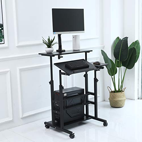 UNICOO- Height Adjustable Sit Stand Workstation, Mobile Standing Desk, Rolling Presentation Cart, Stand Up Computer Desk with Dual Surface for Home Office U101 Black