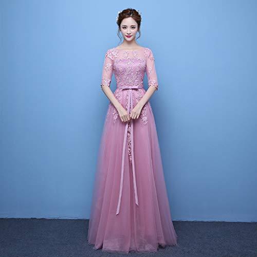 FAPROL Damen Brautjungfer Spitze Brautkleider Elegante Tüll Stickerei Kurzen Ärmeln Brautkleider Weinrot Abendkleid Pink 12 US