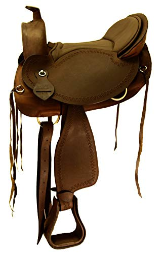 A&M Reitsport Baumloser Westernsattel Michigan Braun aus geöltem Büffelleder mit Klettkissen, Größe:17 Zoll