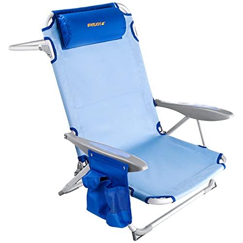 #WEJOY Strandstuhl klappbar Hochlehner Klappstuhl 4 Position Leicht tragbar Stark stabil Campingstuhl Lay Flat Chair Max Hold bis 120kg / 265 lbs