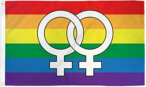 TM Double Venus Rainbow Flag 3x5 LGBTQIA Lesbian Pride Double Female Symbol WLW