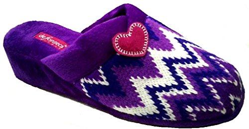 de fonseca Ciabatte Pantofole Invernali da Donna MOD. Zig DI66 Viola (39)