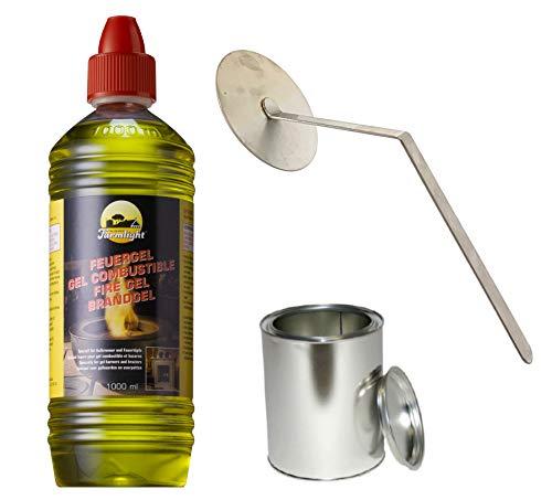 Moritz Starter Set 1 x 1000 ml Brenngel + 1x Blechdose 250 ml mit Deckel + 1x Flammenkiller für Brenner Kamin Ofen Sicherheitsbrenner Brennpaste