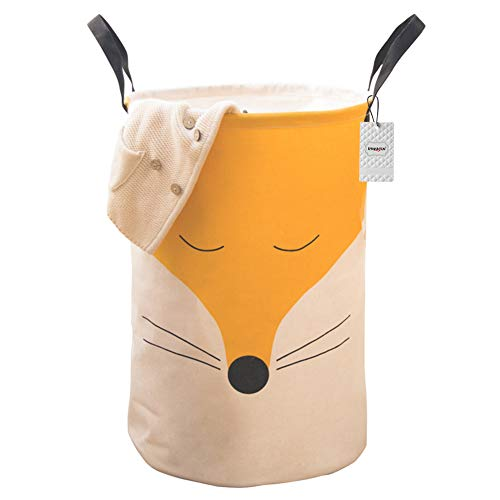 Inwagui Faltbare Wäschekorb Große Wasserdicht Wäschesammler Wäschesack Kinderzimmer Spielzeug Aufbewahrungskorb mit Griffen - Fuchs B