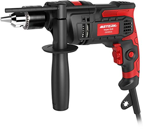 Product Image of the Hammer Drill Meterk 7.0 Amp 1/2 Inch Corded Drill 850W, 3000RPM Dual Switch Between Impact Drill and Electric Drill, With Adjustable Speed for Drilling Wood, Steel, Concrete&Plastic DIY Drilling